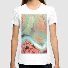 Living Coral and Teal Agate T-shirt