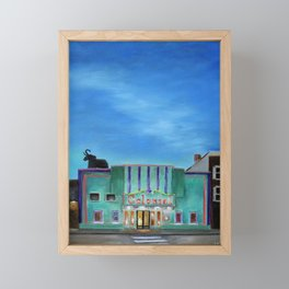 Evening at the Colonial Movie Theater Painting Framed Mini Art Print