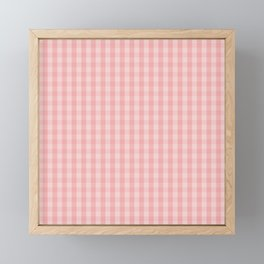 Large Lush Blush Pink Gingham Check Plaid Framed Mini Art Print