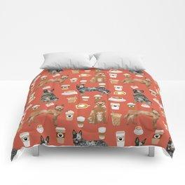 Australian Cattle Dog coffee pet friendly dog breed dog pattern art Comforters