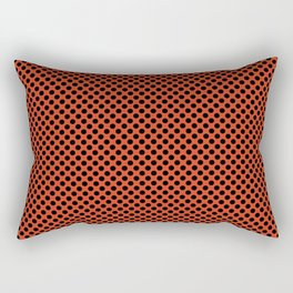 Tangerine Tango and Black Polka Dots Rectangular Pillow