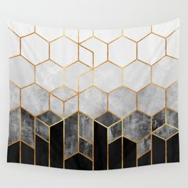 Charcoal Hexagons Wall Tapestry