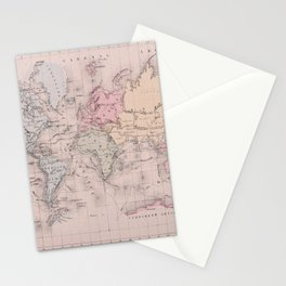 Antique Map of the World circa 1864 Stationery Cards