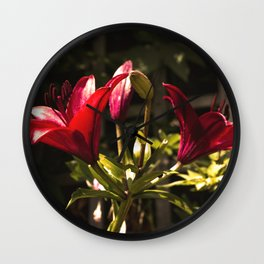Red Lilys Wall Clock