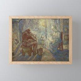 Evening after Millet by Vincent van Gogh, 1889 Framed Mini Art Print