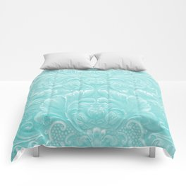 Robin Egg Blue Tooled Leather Comforters