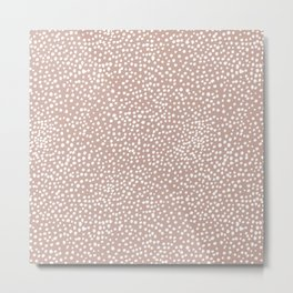Little wild cheetah spots animal print neutral home trend warm dusty rose coral Metal Print