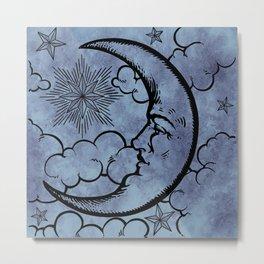 Moon vintage blue grey Metal Print