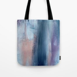 In a Blur: an abstract mixed media piece in pinks, blues, and purple Tote Bag
