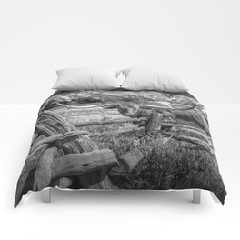 Texas Longhorn Steer by an Old Wooden Fence in Black and White Comforters