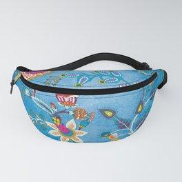 Blue Lapis Velvet Texture Chintz Multicolour Bohemian Floral Pattern Fanny Pack