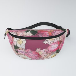 Peony Wreath Painting (wine red bordeaux) Fanny Pack