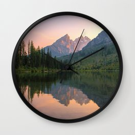 Reflecting The Tetons Wall Clock