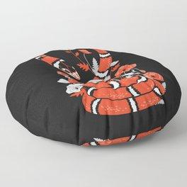 King snake with poppy flowers Floor Pillow
