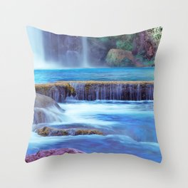 The Pools of Havasupai Falls - Revisited Throw Pillow