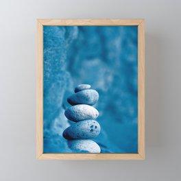 Stacked pebbles Framed Mini Art Print