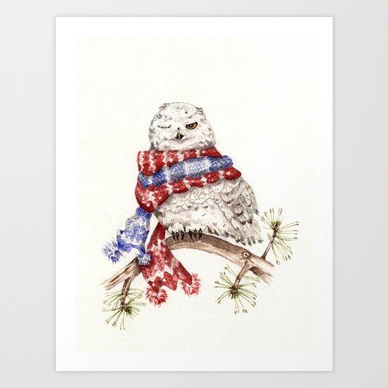 Winking Arctic Owl in Scarf Art Print