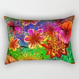 Tropical Heat-Colorful Floral Exotic Tropical Flower Pattern Rectangular Pillow