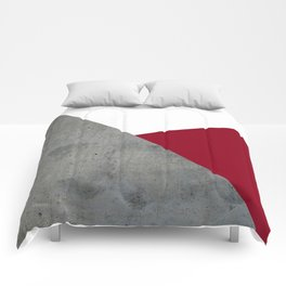 Concrete Burgundy Red White Comforters