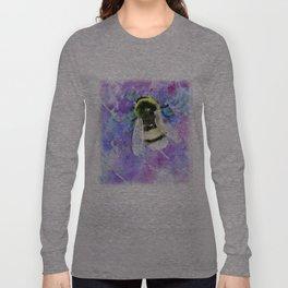 Bumblebee and Lavender Flowers Herbal Bee Honey Purple Floral design Long Sleeve T-shirt