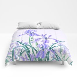 purple iris watercolor Comforters
