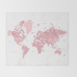 Light pink, muted pink and dusty pink watercolor world map with cities Throw Blanket