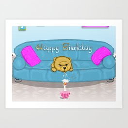 Snooze Poop Dog blowing out candle Art Print