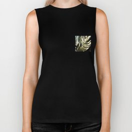 sunlight on golden silver tropical leaves Biker Tank