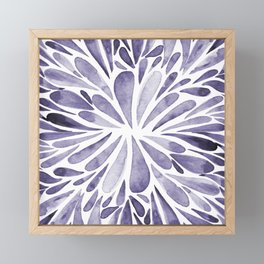 Symmetric drops - indigo Framed Mini Art Print
