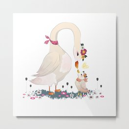 White, swan, Crown ,  Flower,   Peacock ,  Goose,   Feather ,  Bird, mother, baby Metal Print