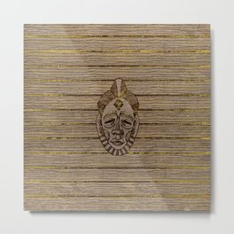 Pyrography Style African Mask on Wood with gold Metal Print