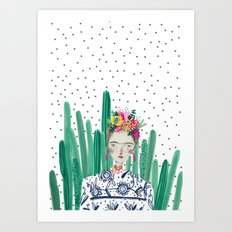 Frida Kahlo. Art, print, illustration, flowers, floral, character, design, famous, people, Art Print