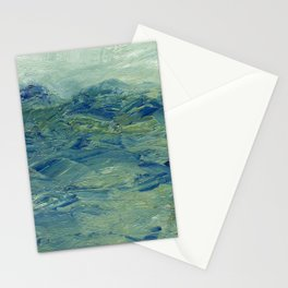 Abstract Blue Green Waves of Aqua Ocean Blue Mountains Stationery Cards