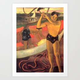 A man with an axe, L'homme à la hache - Paul Gauguin (1891) Art Print
