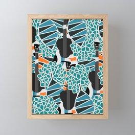 Guitars, flowers and leaves Framed Mini Art Print
