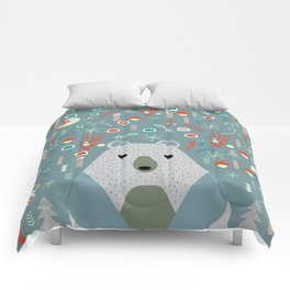 Winter pattern with baby bear Comforters