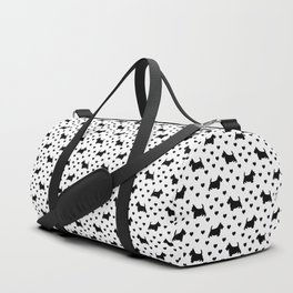 Cute Black Scottish Terriers (Scottie Dogs) & Hearts on White Background Duffle Bag