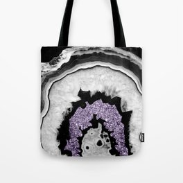 Gray Black White Agate with Ultra Violet Glitter #2 #gem #decor #art #society6 Tote Bag