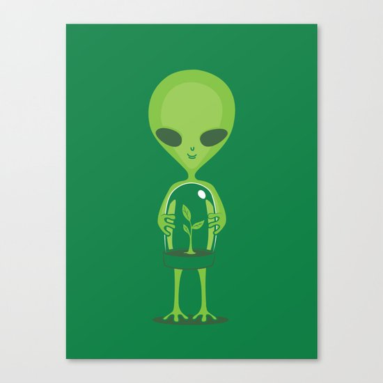 Green as a Little Green Does Canvas Print