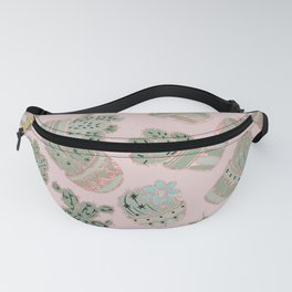 Blush pink mint green rose gold cactus floral Fanny Pack