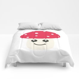 Cute red mushroom Comforters