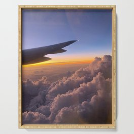 sunrise from airplane #4 Serving Tray