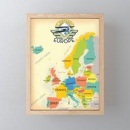 Retro Map Of Europe. Framed Mini Art Print