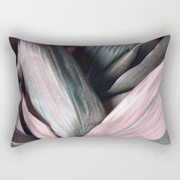 Pink Plant Leaves Rectangular Pillow