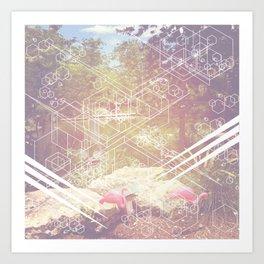 Geometric White Miami Garden Art Print