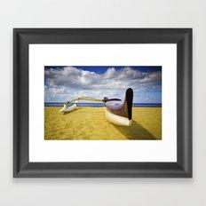 Outrigger canoe on beach Framed Art Print