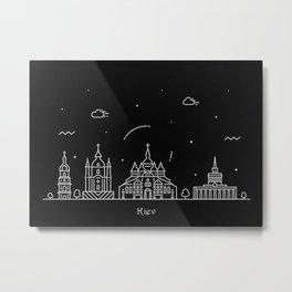 Kiev Minimal Nightscape / Skyline Drawing Metal Print