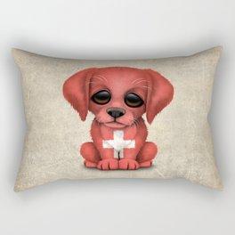 Cute Puppy Dog with flag of Switzerland Rectangular Pillow