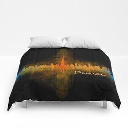 Dubai, emirates, City Cityscape Skyline watercolor art v4 Comforters