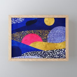 Terrazzo galaxy blue night yellow gold pink Framed Mini Art Print